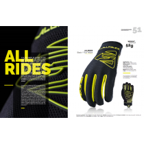 FIVE Pairs Gloves ALL RIDE  Black /Fluo Yellow Size L (C0217013310)