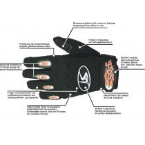 SHOCK THERAPY Pair Gloves Hardride Hot Flame Size 8